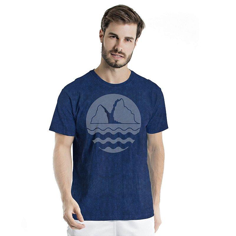 Camiseta de Algodão Estonada Marinho Sky Montanha