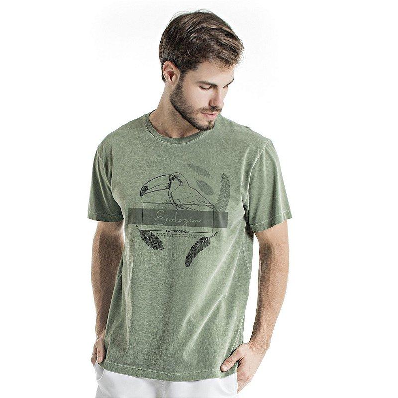 Camiseta de Algodão Estonada Verde Ecologia