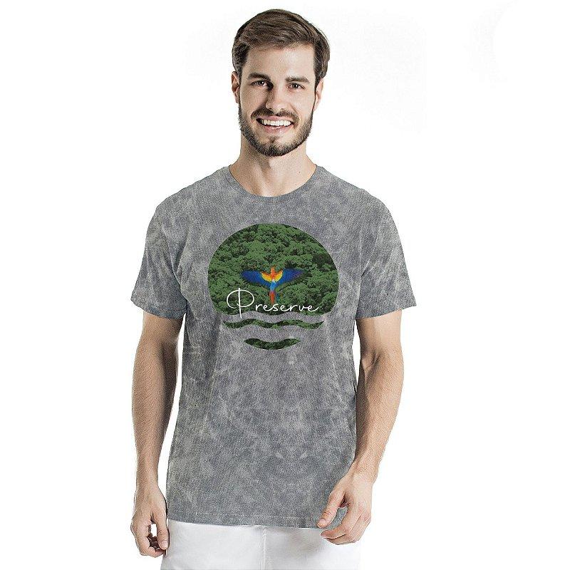 Camiseta de Algodão Estonada Cinza Sky Preserve