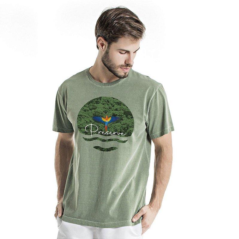 Camiseta de Algodão Estonada Verde Preserve