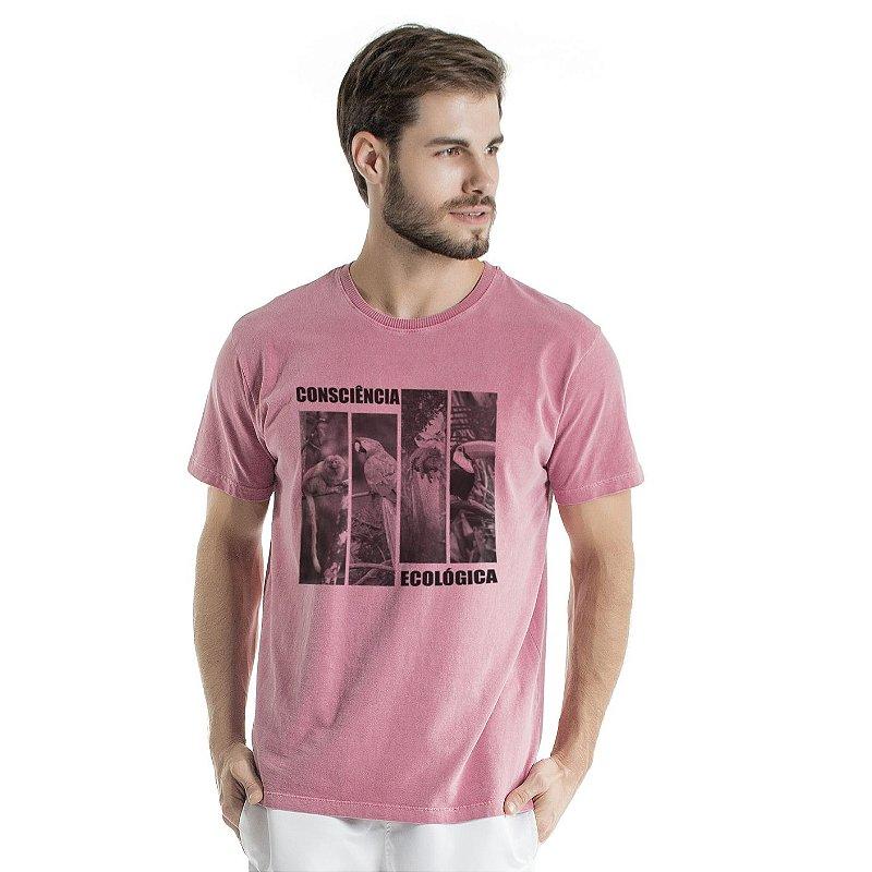 Camiseta de Algodão Estonada Vinho Consciência Ecológica Fauna