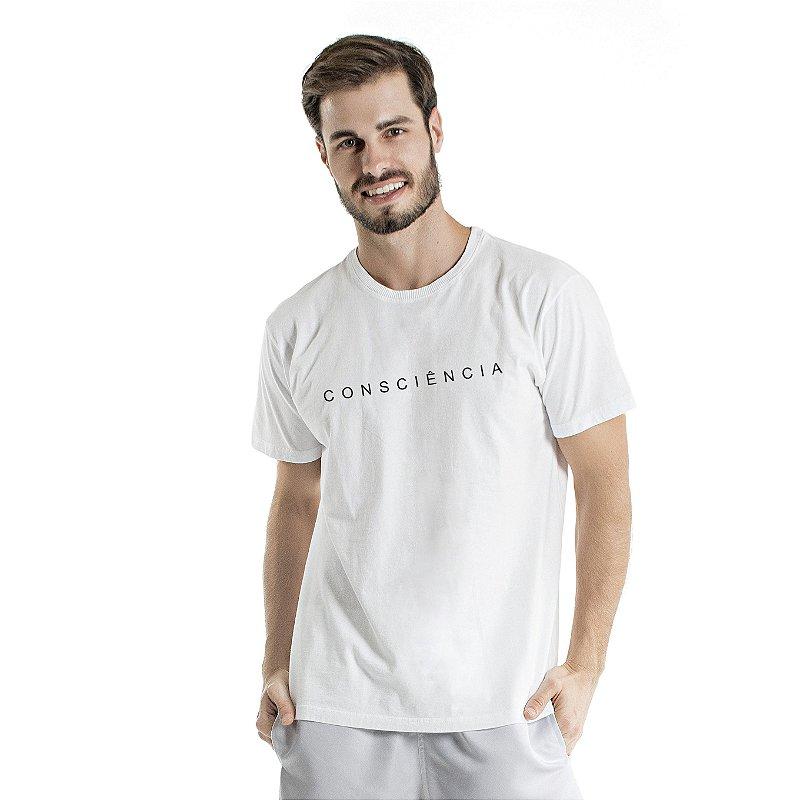 Camiseta de Algodão Estonada Branca Escrita Consciência