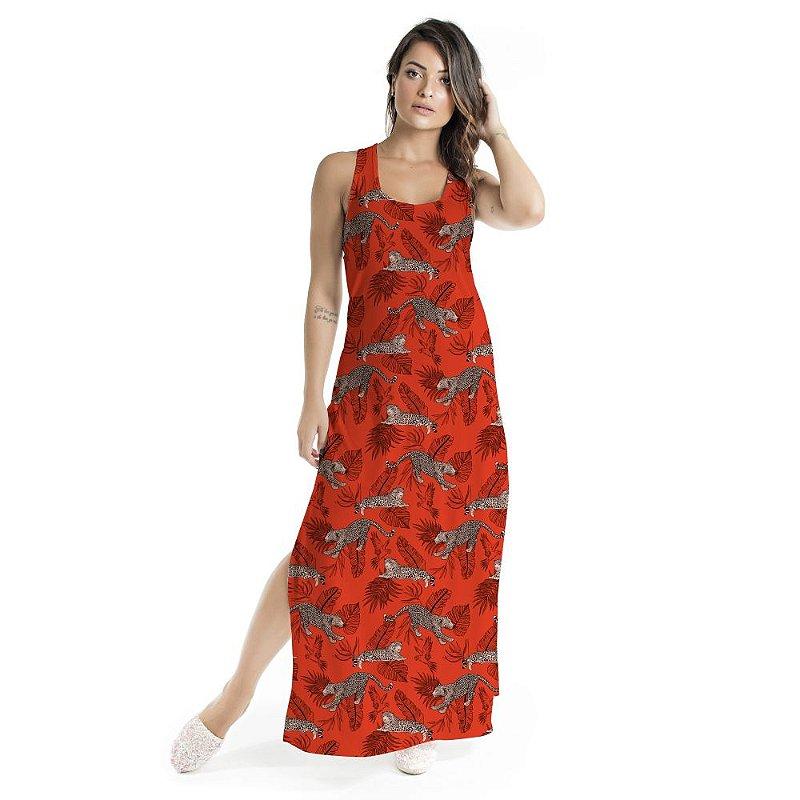 Vestido Longo Tulipa Vermelho Onças e Folhagens