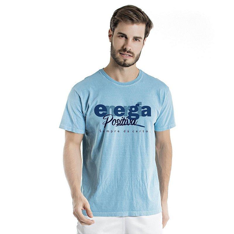 Camiseta de Algodão Estonada Azul Energia Positiva
