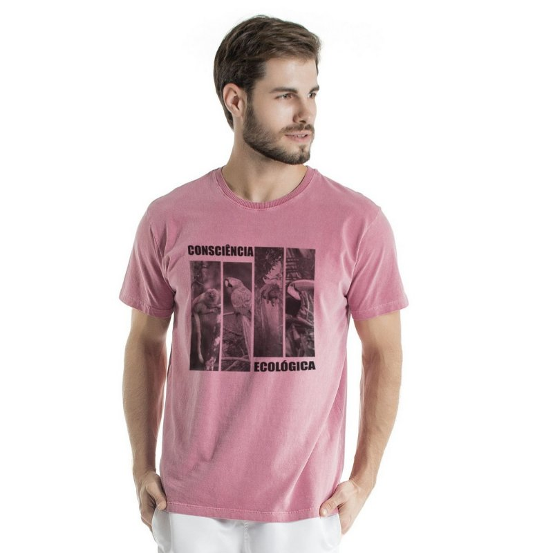 Camiseta de Algodão Estonada Coral Consciência Ecológica Fauna