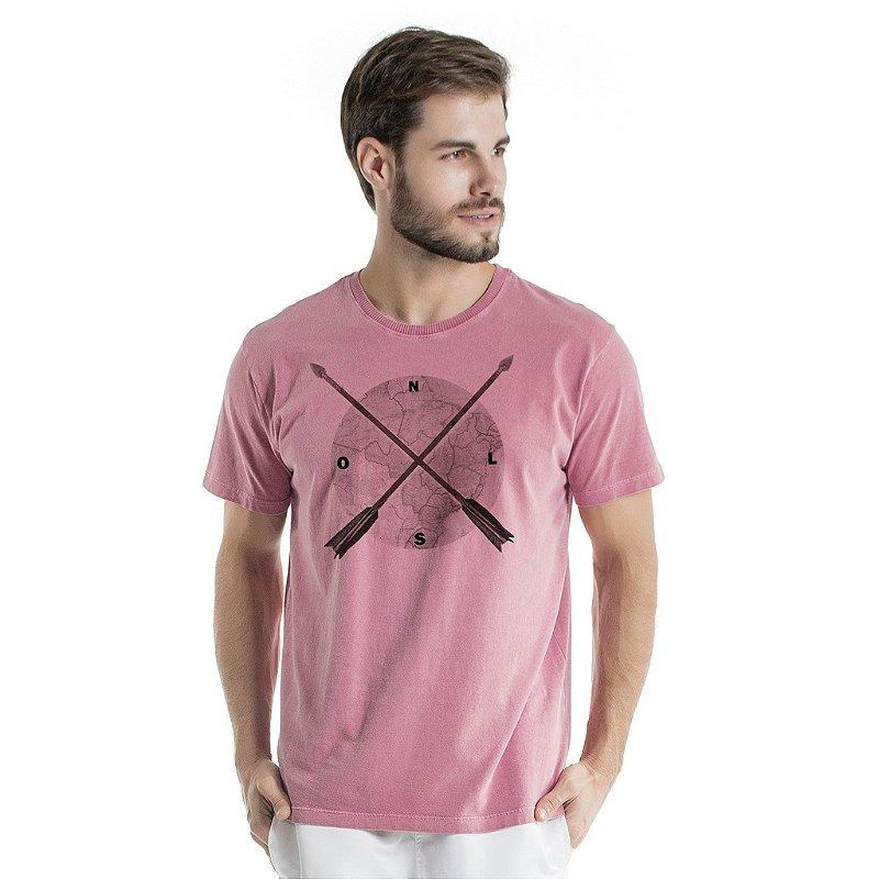 Camiseta de Algodão Estonada Coral Direção