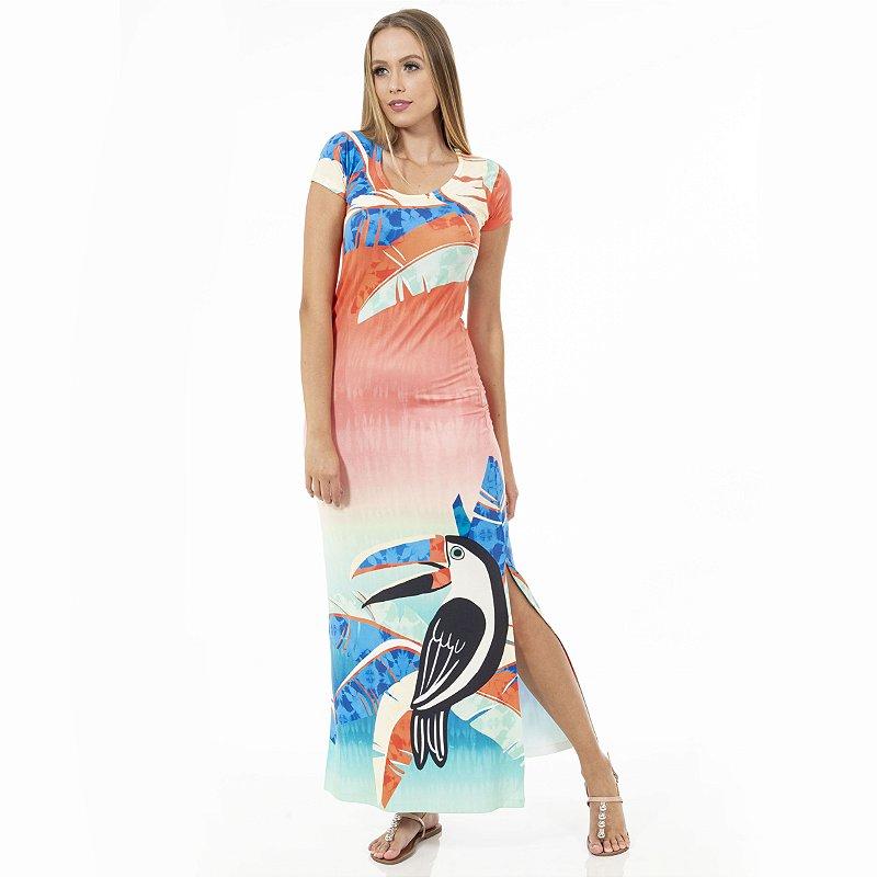 Vestido Longo Jeri Tucano Estilizado