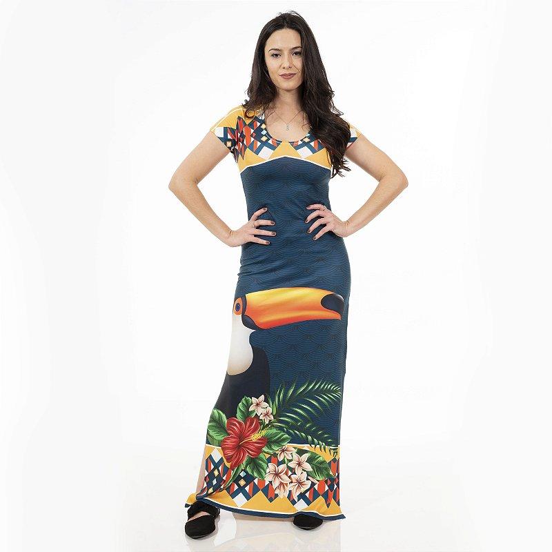 Vestido Longo Jeri Azul Tucano Frontal