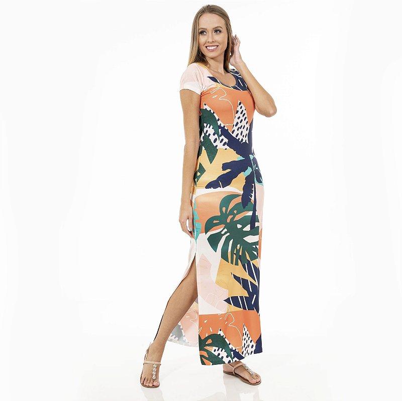 Vestido Longo Jeri Costela de Adão e Coqueiros Coloridos