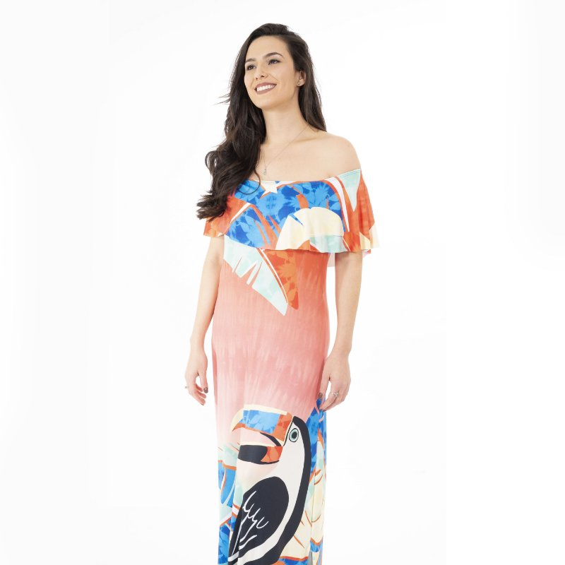 Vestido Longo Ciganinha Tucano Estilizado