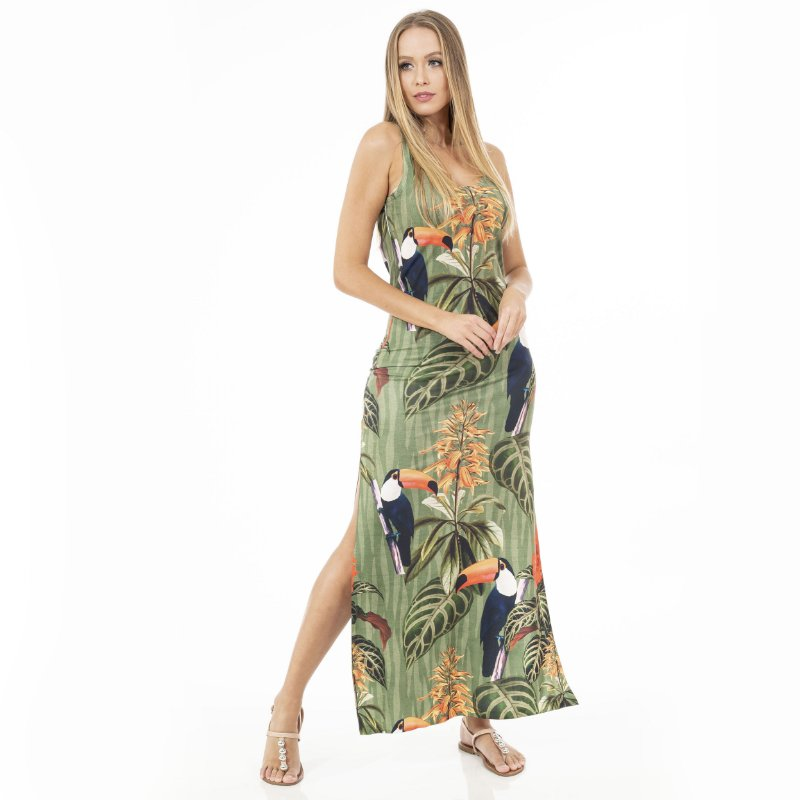 Vestido Longo Tulipa Verde Militar e Tucanos