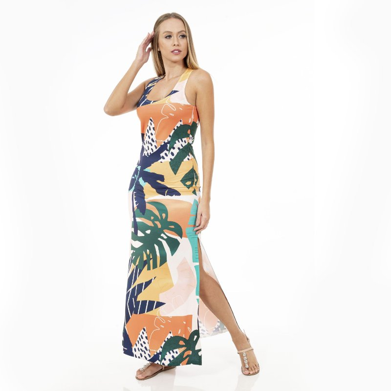 Vestido Longo Tulipa Costela de Adão e Coqueiro Colorido