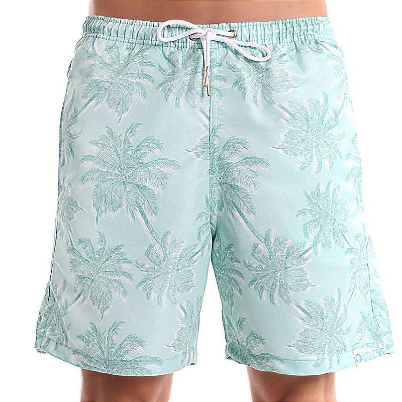 Bermuda Masculino Adulto Coqueiro Tropical Verde Menta