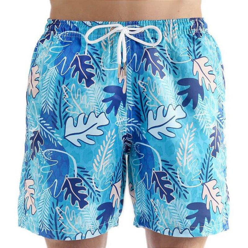 Bermuda Masculina Adulto Folhas Aquarela Blue