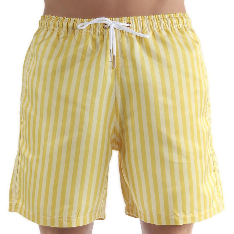 Bermuda Masculina Adulto Listras Vertical Amarelo