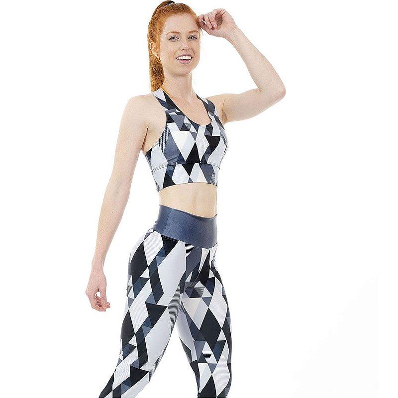 Top Fitness Feminino Geométrico Preto e Branco