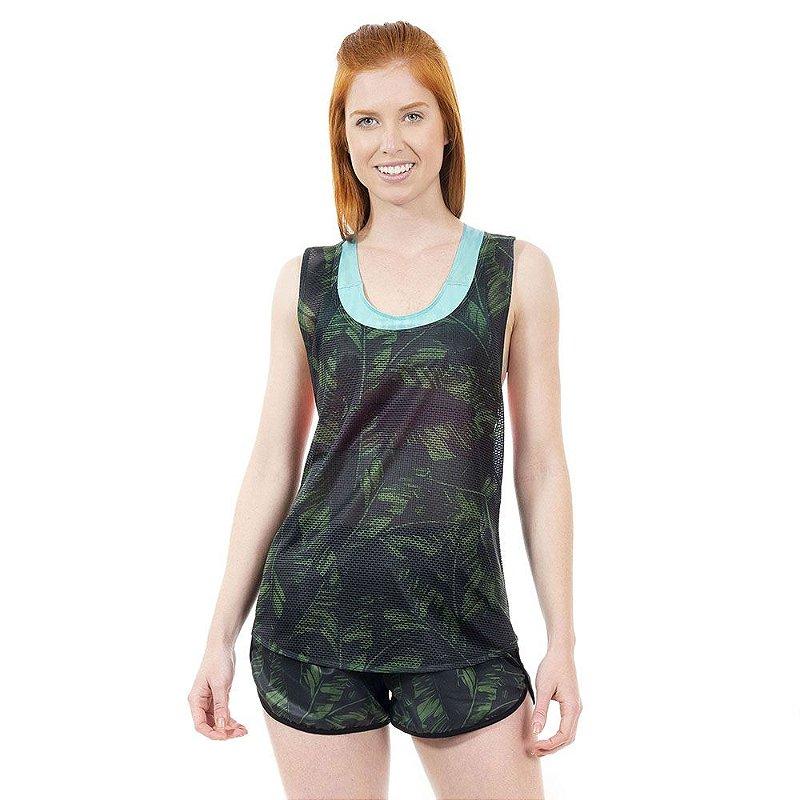 Shorts Fitness Folhas Verdes Feminino