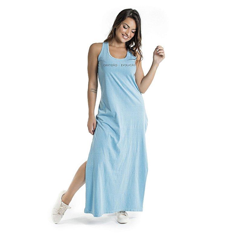 Vestido Longo Estonado Azul Celeste Gratidão