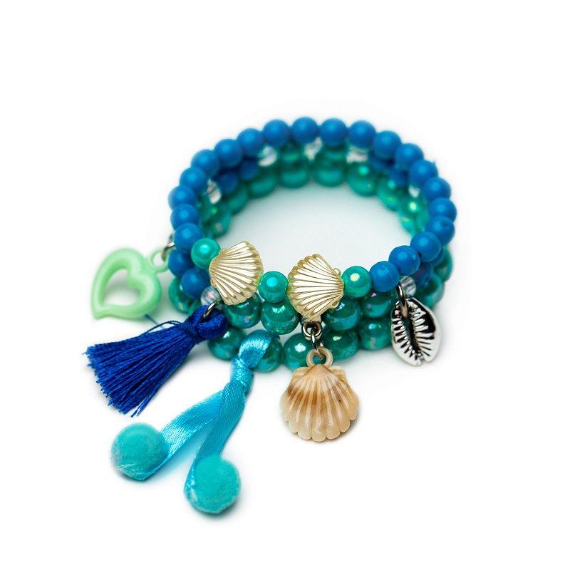 Kit Pulseiras Encantos do Mar Azul