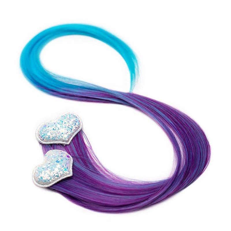 Cabelo mágico de Sereia azul e roxo