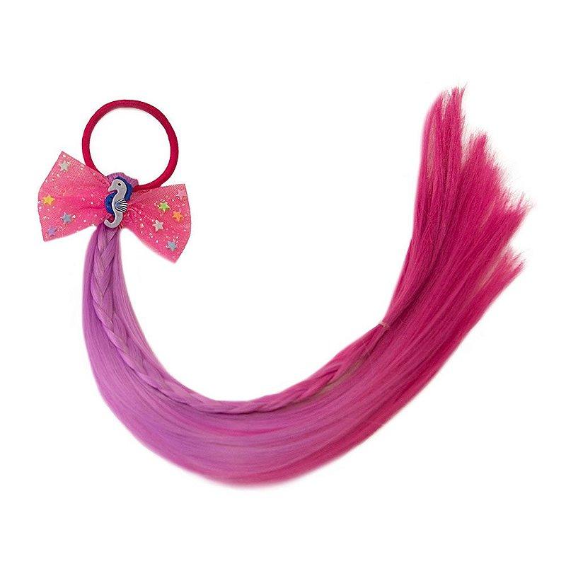 Cabelo mágico de Sereia com Laço Rosa