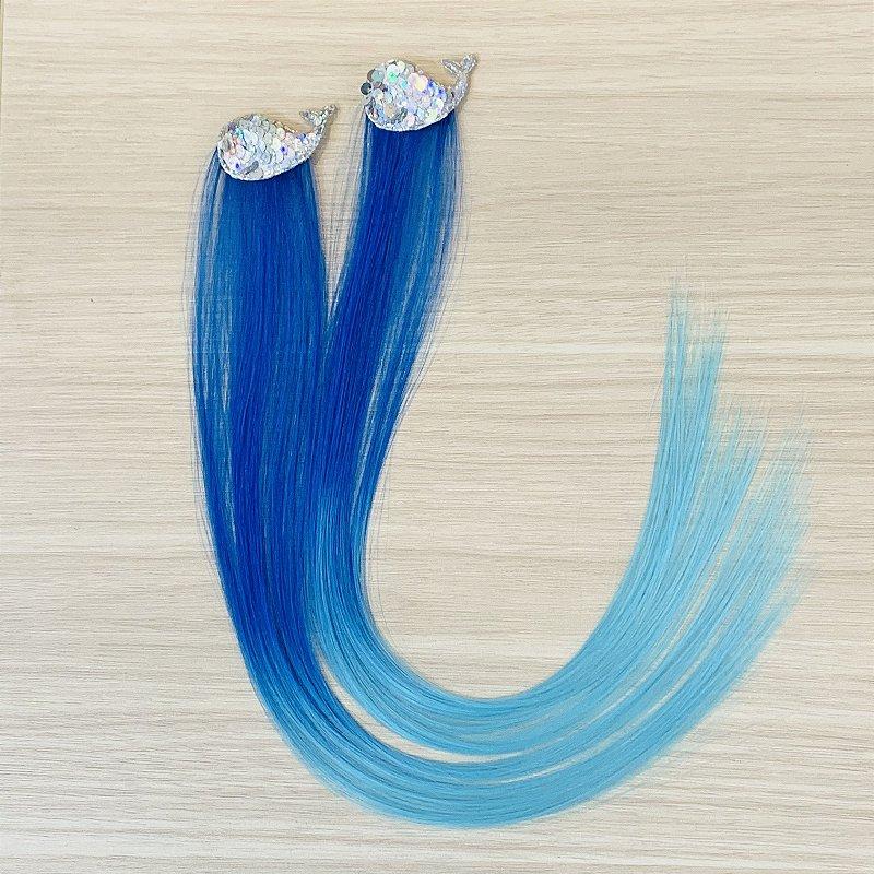 Par cabelo mágico de Sereia azul Golfinhos
