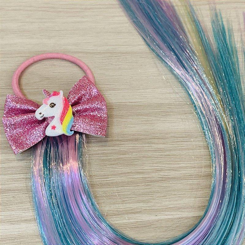 Cabelo mágico de Sereia Laço rosa e Unicórnio