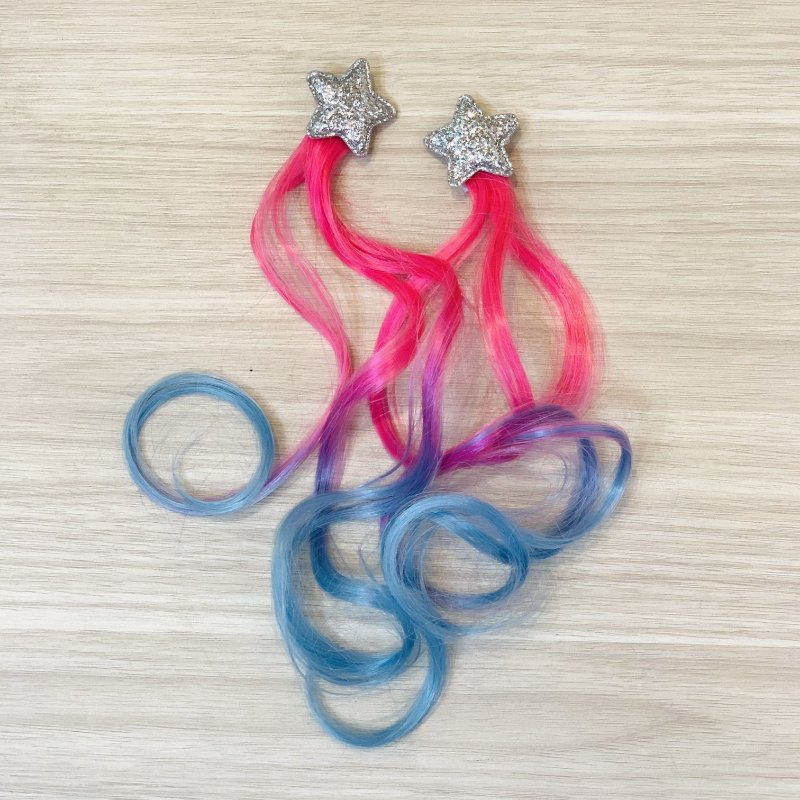 Par Presilha Cabelo rosa e azul Estrela Prata