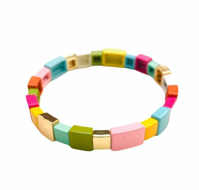 Pulseira Esmaltada quadrados coloridos