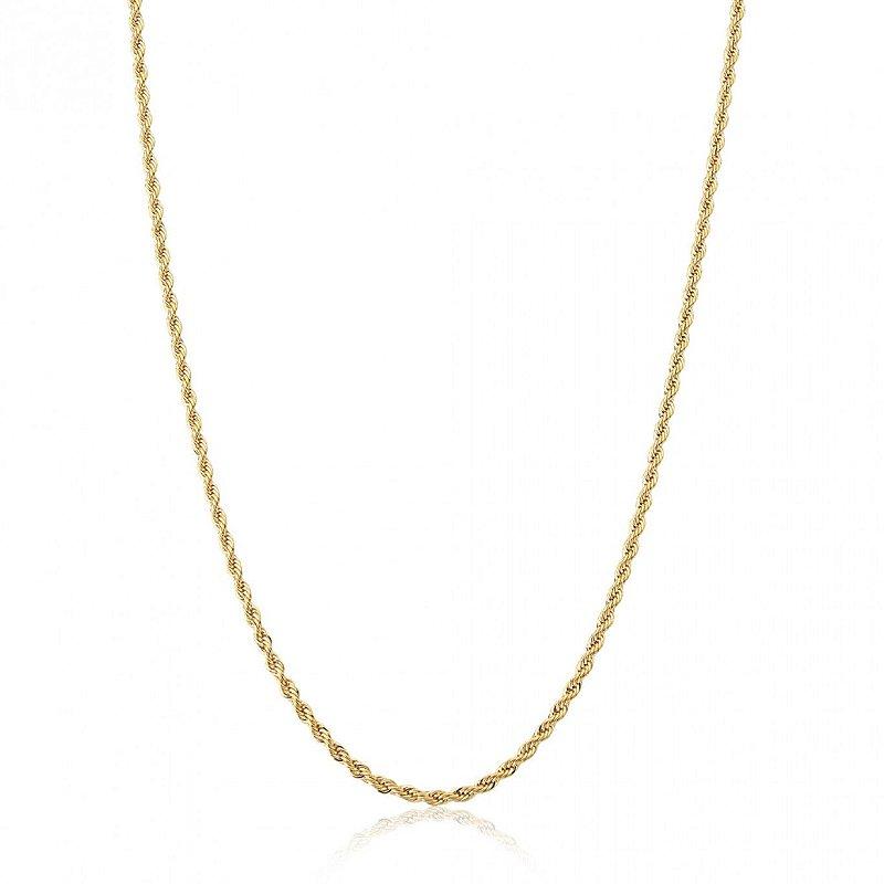 Cordão Baiano Colar Corrente Delicada a Ouro Feminina 45cm