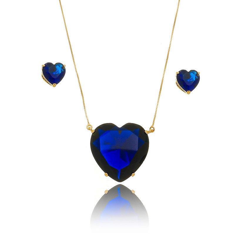 Conjunto de Colar e Brinco Coração Azul Banhado a Ouro