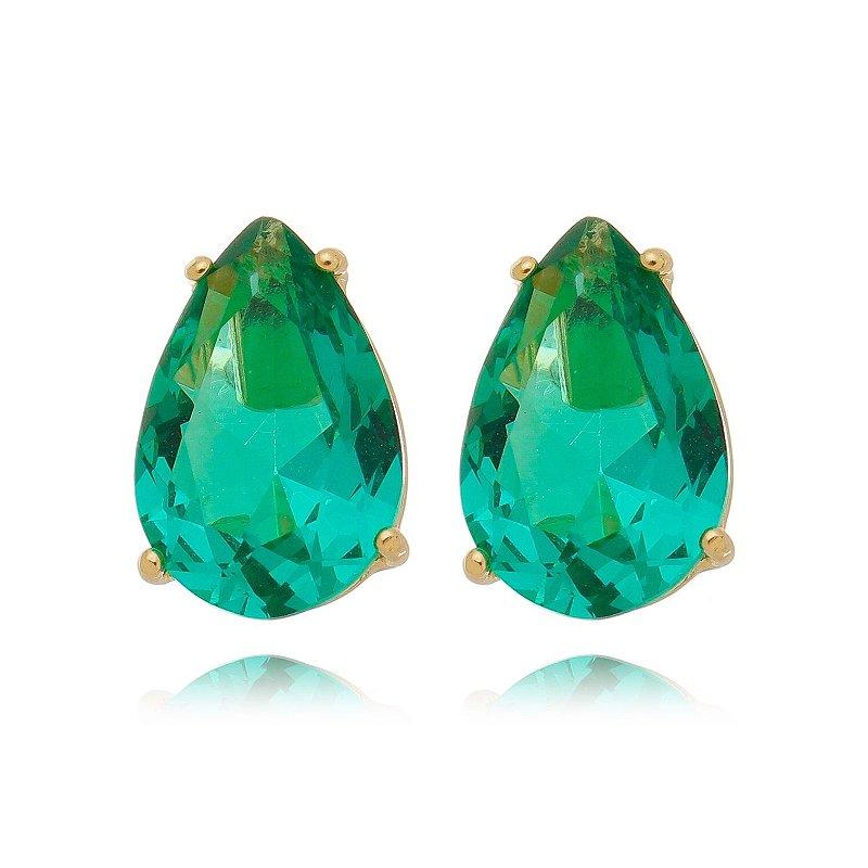 Brinco Ponto de Luz Verde Cristal Turmalina Banhado a Ouro