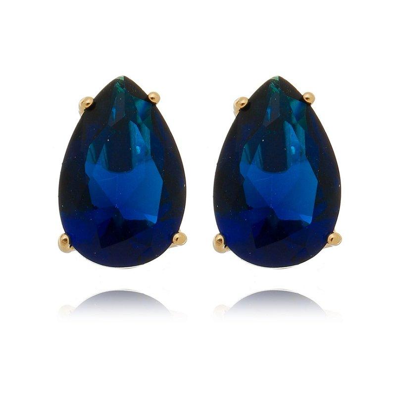 Brinco Ponto de Luz Pedra Cristal Azul Banhado a Ouro