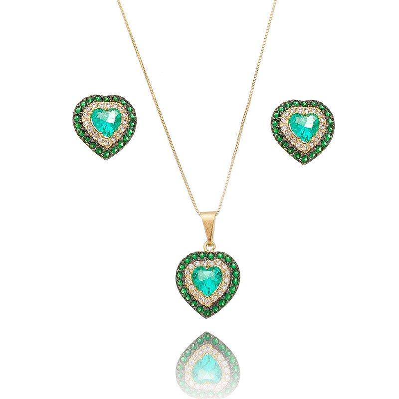 Conjunto Colar e Brinco Coração Verde Cravejado Banhado Ouro