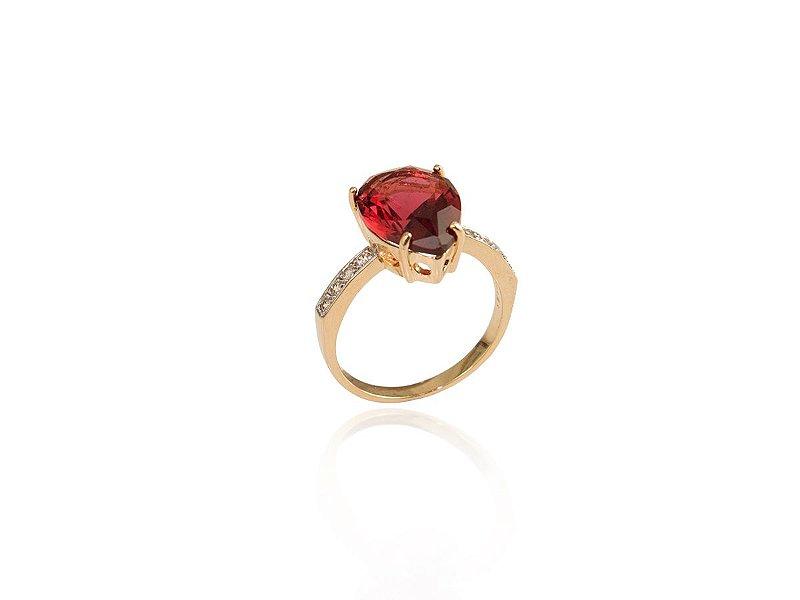 Anel Solitário Forma de Gota Vermelho Rubi Folheado a Ouro
