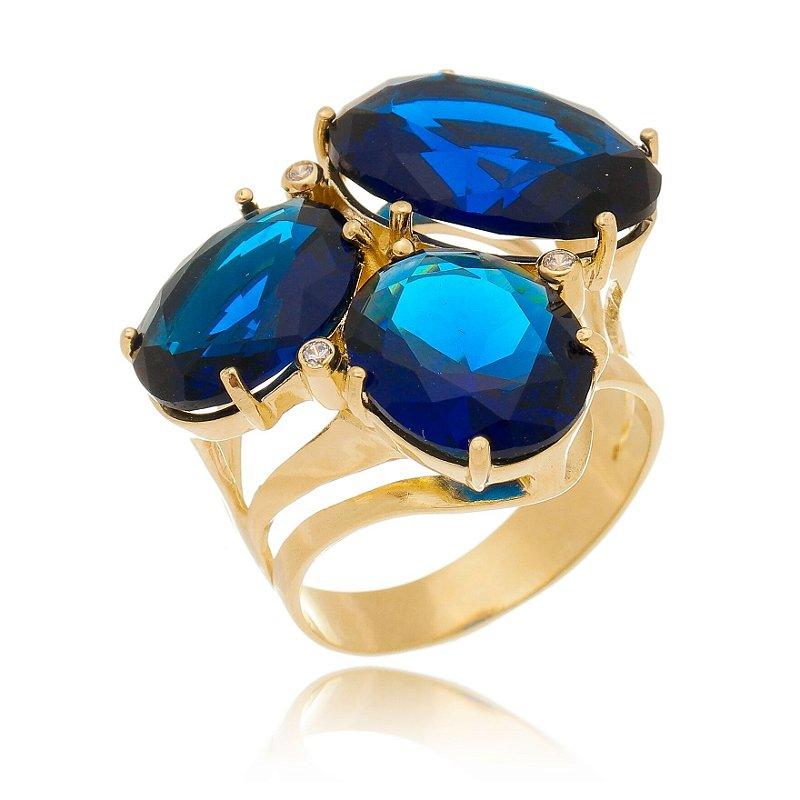 Anel de Pedras Ovais Azul Safira Três Tamanhos Banhado Ouro
