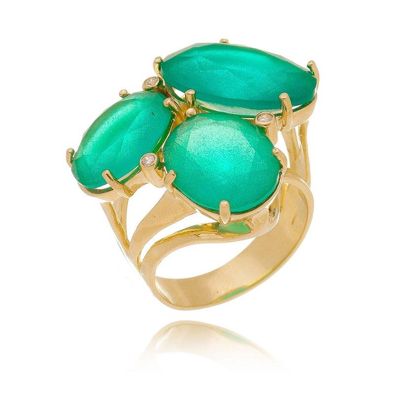 Anel de Pedras Ovais Verde Turmalina Banhado a Ouro