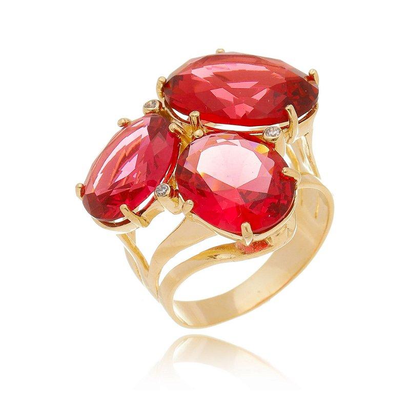 Anel de Pedras Ovais Vermelho Rubenita Banhado Ouro