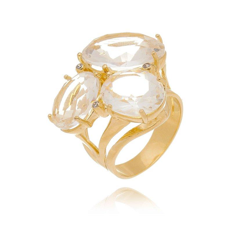 Anel de Pedras Ovais Cristal Branco Três Pedras Banhado Ouro