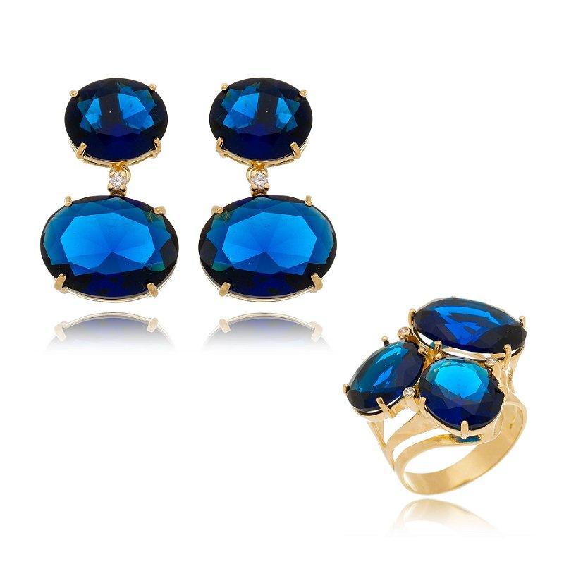 Conjunto Anel e Brinco Pedras Ovais Azul Safira Banhado Ouro