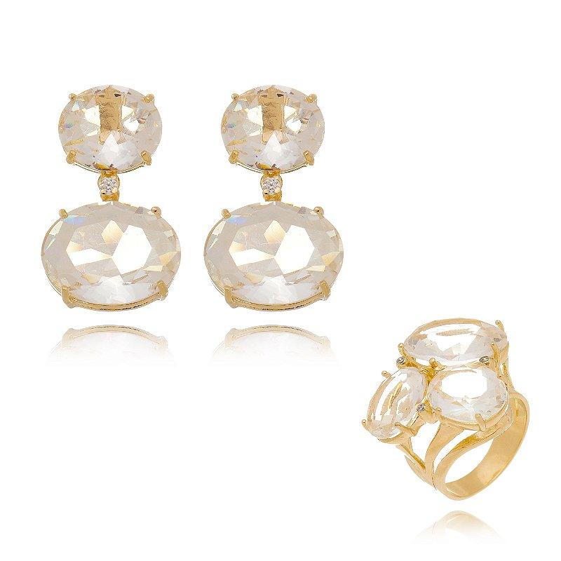 Conjunto Anel e Brinco Pedras Ovais Brancas Banhado Ouro