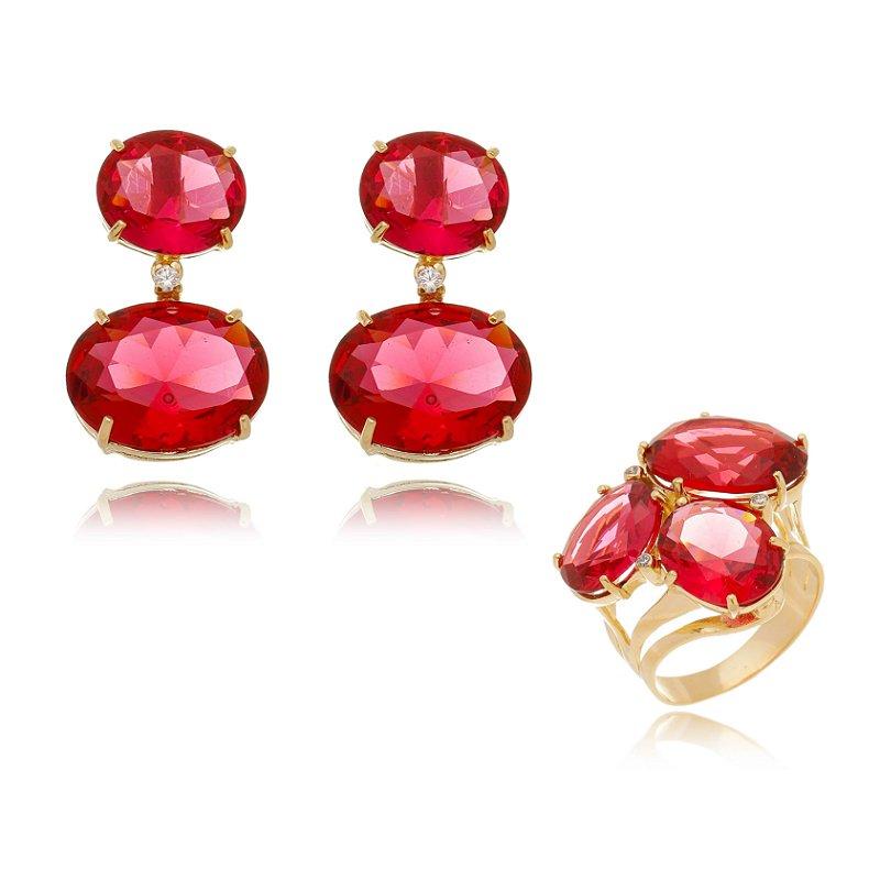 Conjunto Anel e Brinco Pedras Ovais Vermelhas Banhado Ouro
