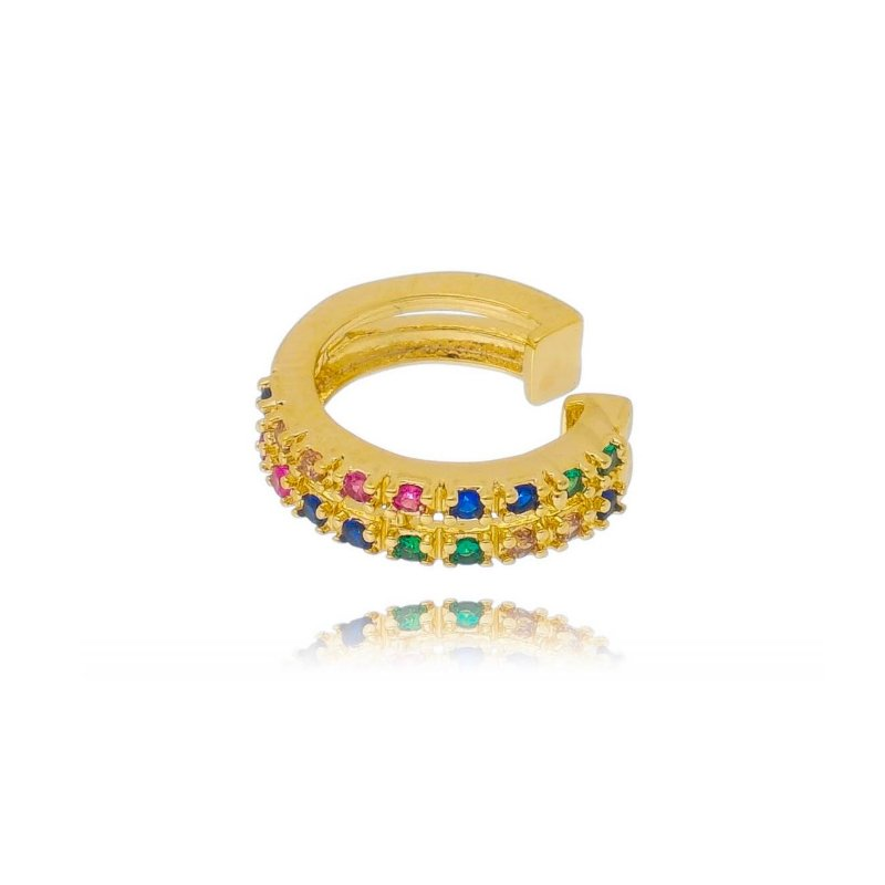 Piercing de Pressão com Design Colorido Banhado a Ouro Unid