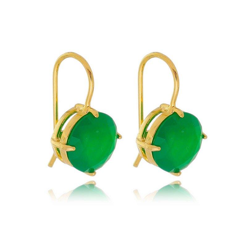 Brinco Anzol Zirconia Redonda Verde Esmeralda Banhado a Ouro