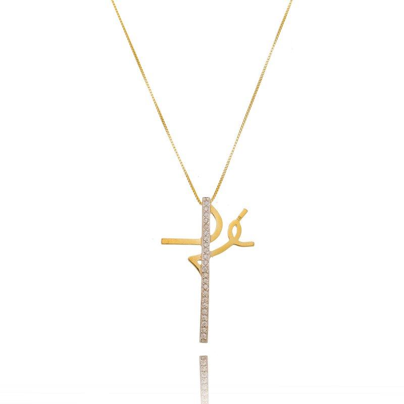 Colar Crucifixo Fé Cravejado Zirconia Branca Banhado a Ouro