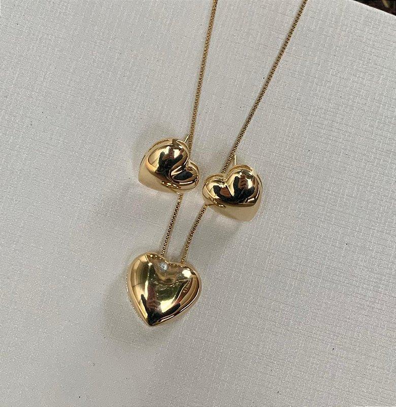 Conjunto Brinco e Colar de Coração Dourado Banhado a Ouro