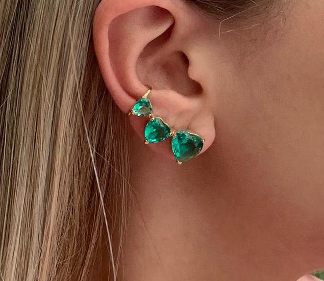 Ear cuff com Zirconia de Coração Turmalina Banhado a Ouro