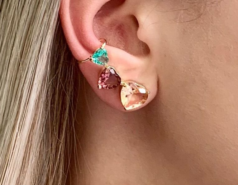 Ear cuff com Zirconia Turmalina e Ametista Banhado a Ouro