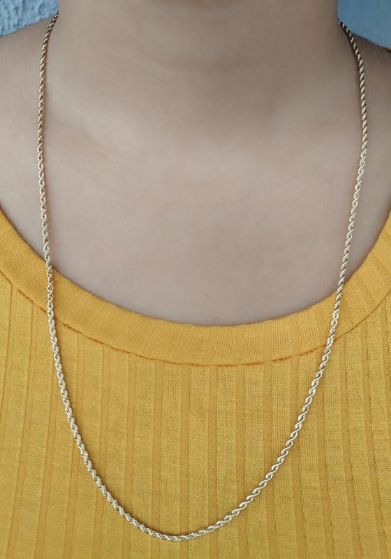 Cordão Baiano Colar Corrente Delicada Ouro Feminina 60cm