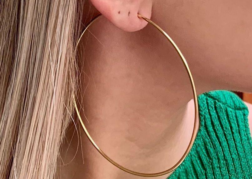 Brinco Argola Maxi Grande Fina Lisa Feminina Banhada a Ouro